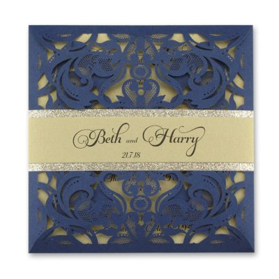 Farrah with Personalised Glitter Band Wedding Invitation