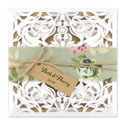 Farrah with Floral Belly Band Wedding Invitation
