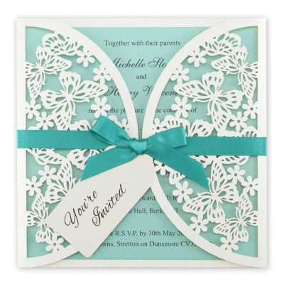 Butterfly Laser with Tag Wedding Invitation