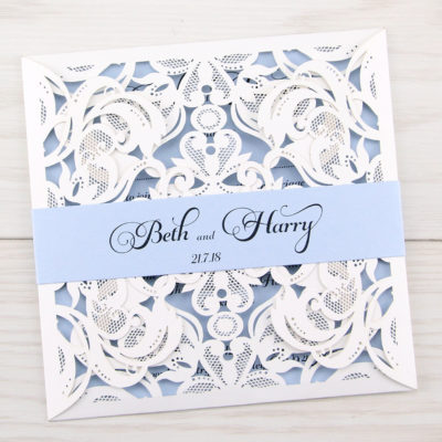 Farrah with Belly Band Wedding Invitation