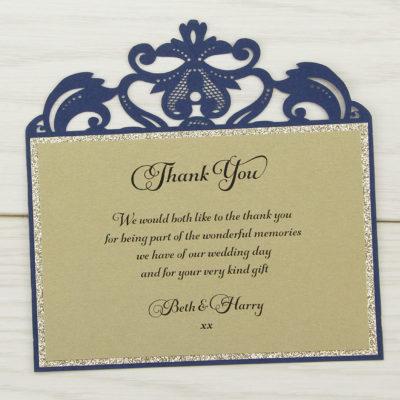 Farrah Glitter Thank you Card