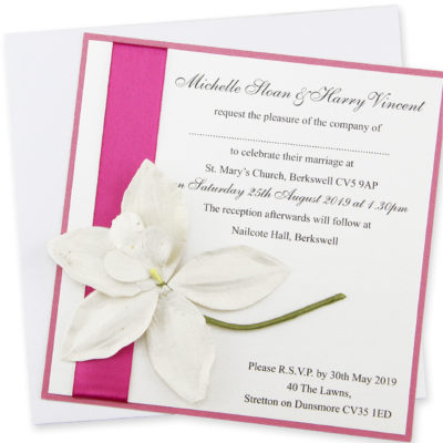 Orchid Layered Square Wedding Invitation
