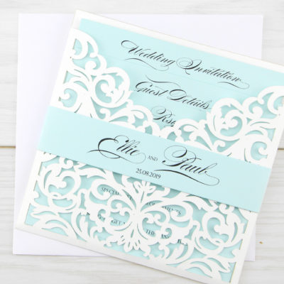 Ruby Laser with Belly Band Wedding Invitation